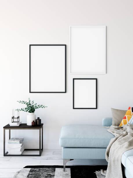 Frame-Mock-up. Wohnzimmer Innenraum. Wand-Mock-up. Wandkunst. 3D Rendering, 3d Illustration. – Foto