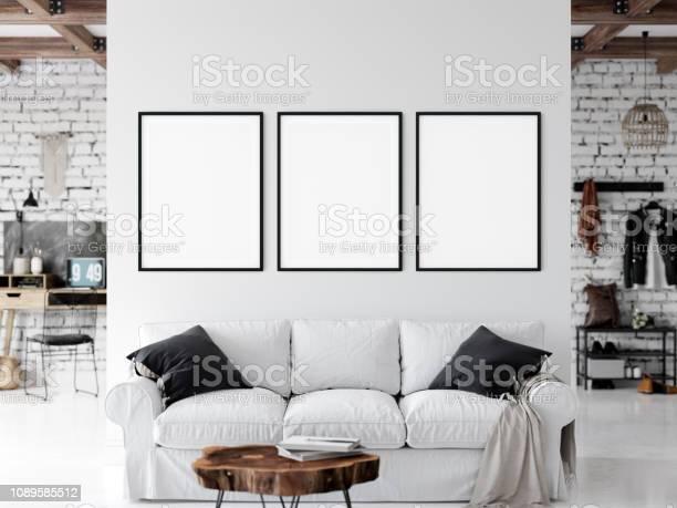 Frame Mockup Woonkamer Interieur Muur Mockup Kunst Aan De Muur 3drendering 3d Illustratie Stockfoto En Meer Beelden Van Appartement Istock