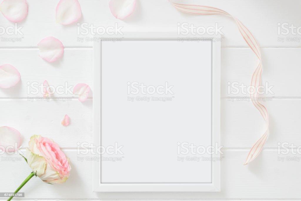 Frame mockup - styled flat lay image stock photo