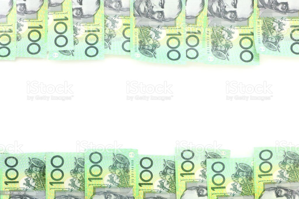 Frame of 100 dollar Australian notes group on white background have copy space for put text stock photo
