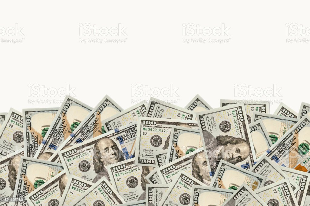 Frame of 100 dollars banknotes stock photo