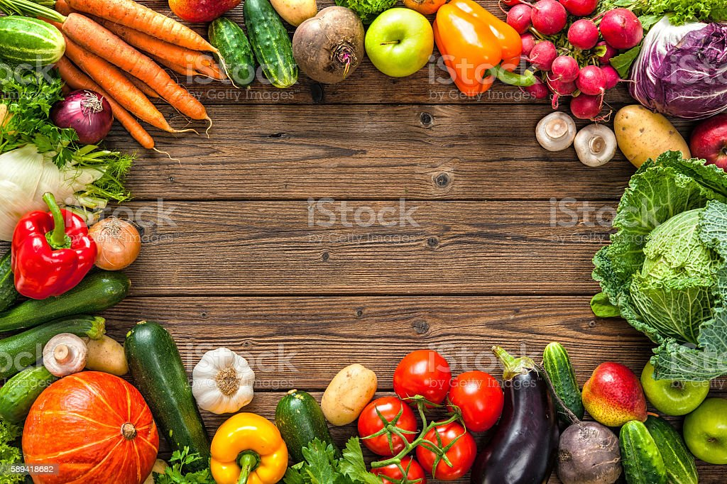 Frame of assorted fresh vegetables stock photo