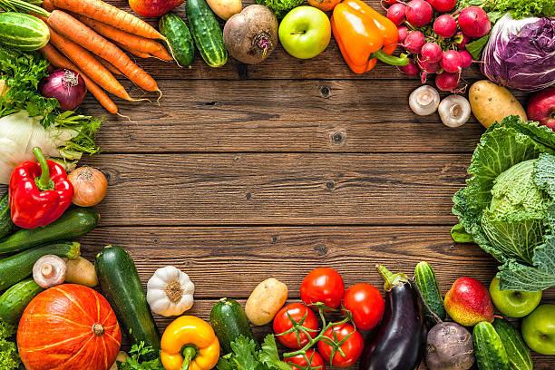 frame of assorted fresh vegetables - 野菜 ストックフォトと画像