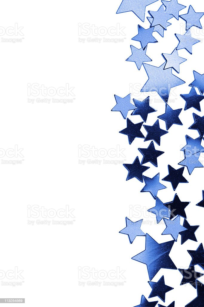 frame of blue stars isolated stock photo