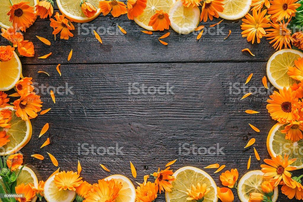 Frame of calendula and oranges stock photo