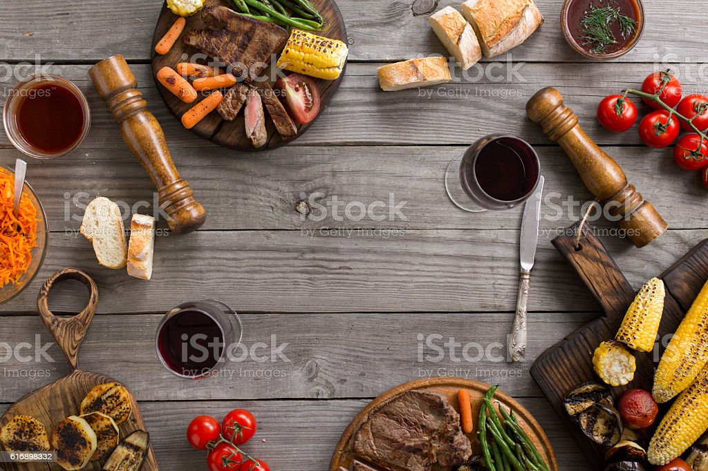 Frame of different food cooked on the grill stock photo