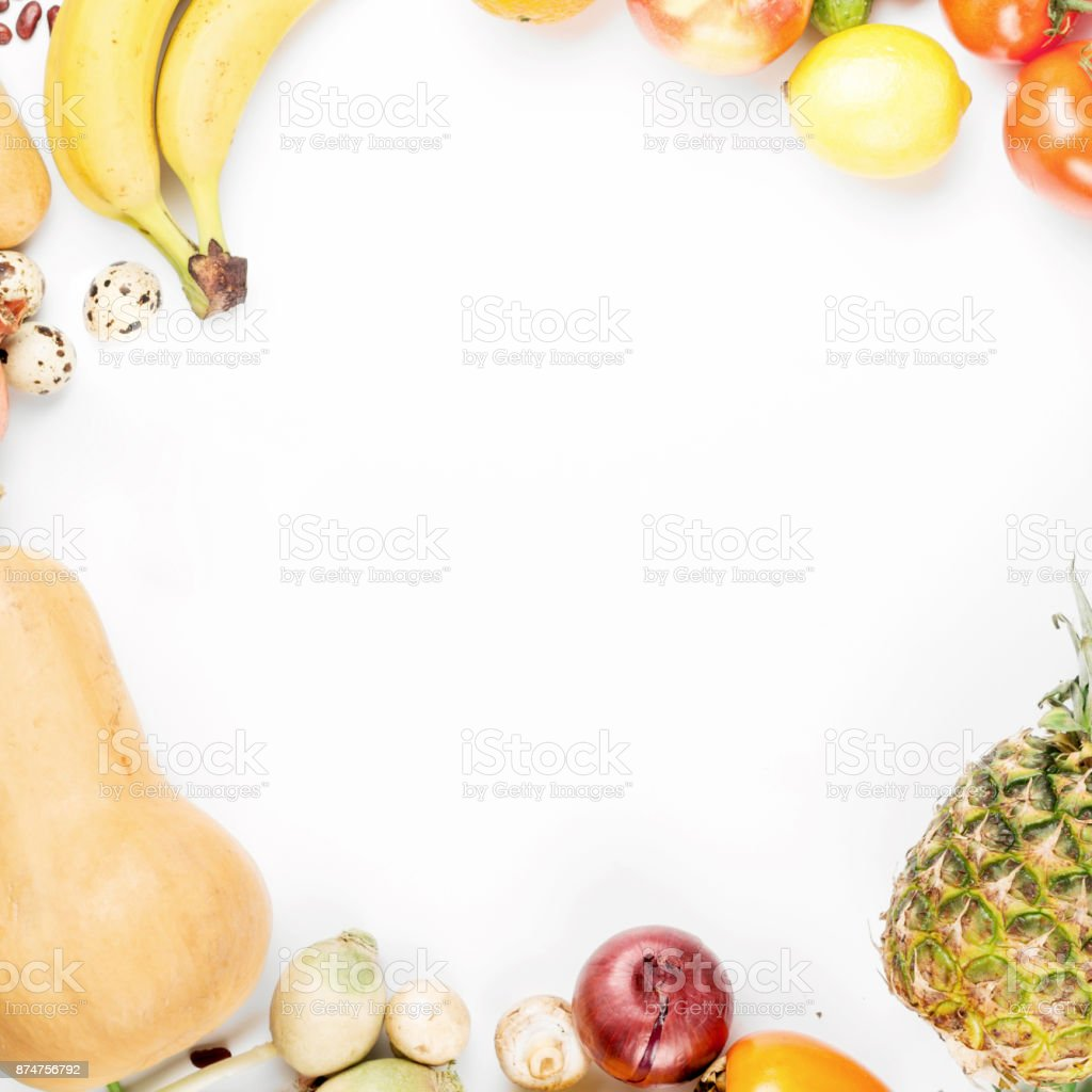 Frame of different health food on a white background. Top view stock photo