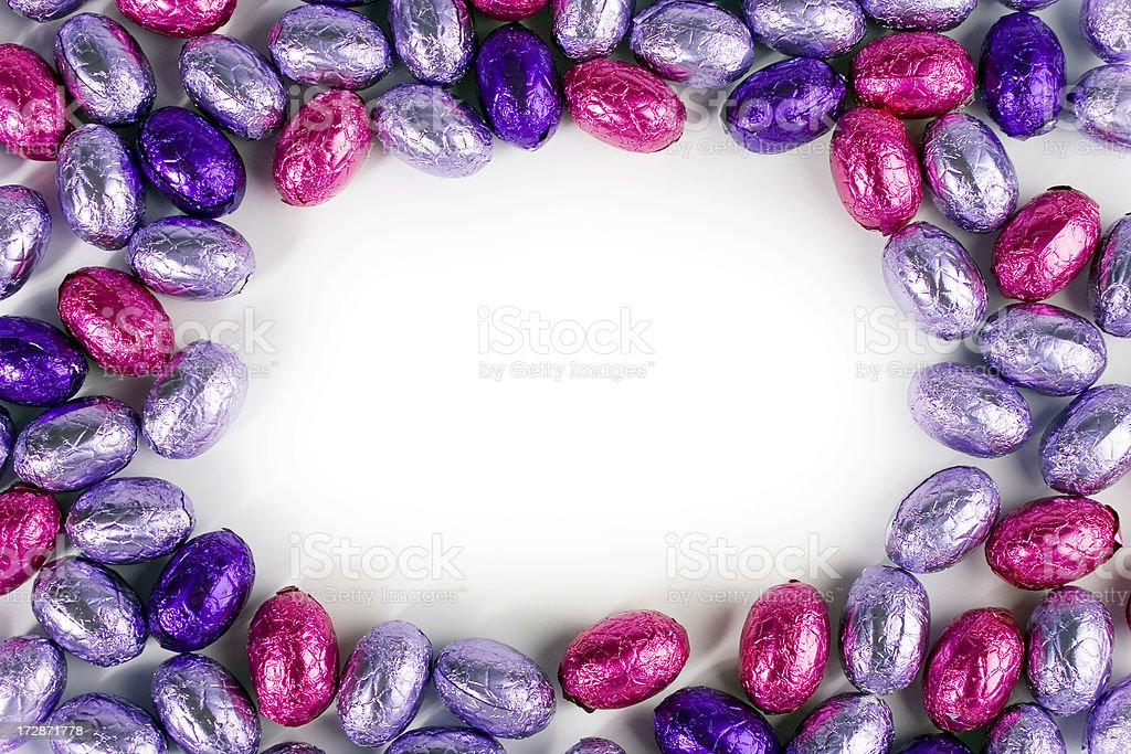 frame of easter eggs stock photo