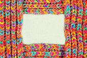 multicolored woolen soft texture. frame border