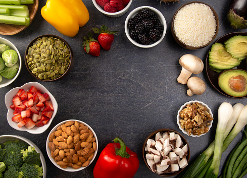 istock A Frame of Fresh Fruits and Vegetables and Non Animal Protiens a Perfect Low Carb or Vegan Combination 1087990206