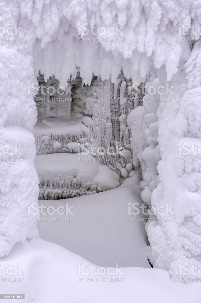 frame of frozen snow stock photo