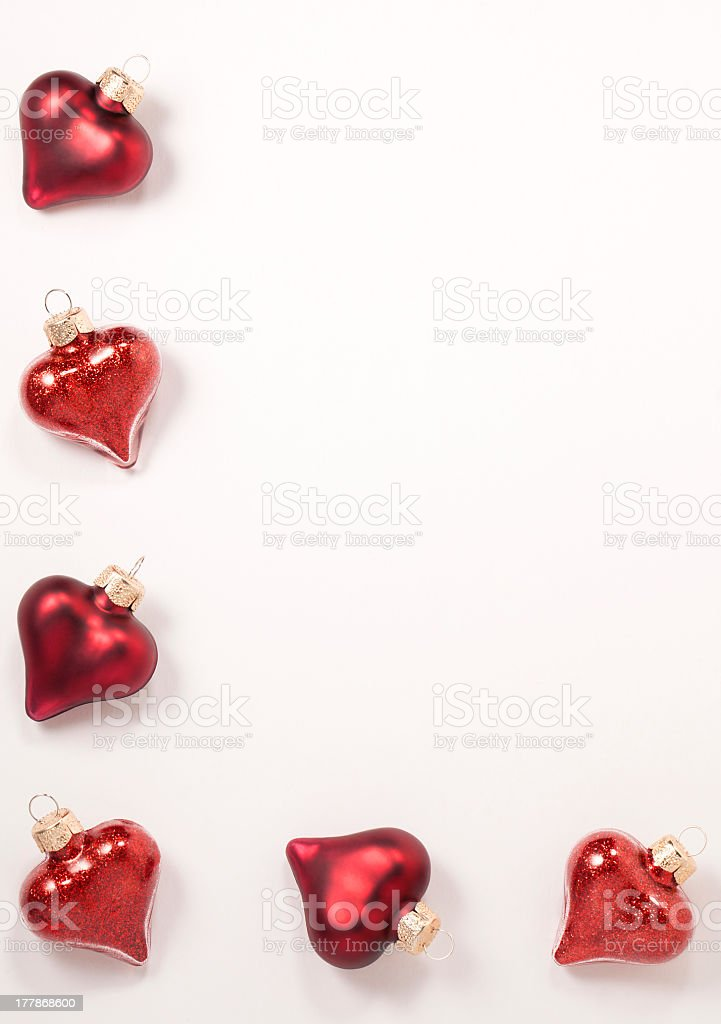 Frame of heart shape Christmas baubles royalty-free stock photo