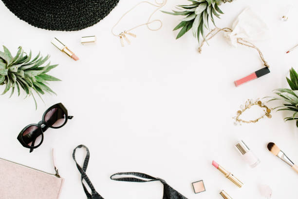 frame of modern woman clothes and accessories collage - personal accessory stock photos and pictures