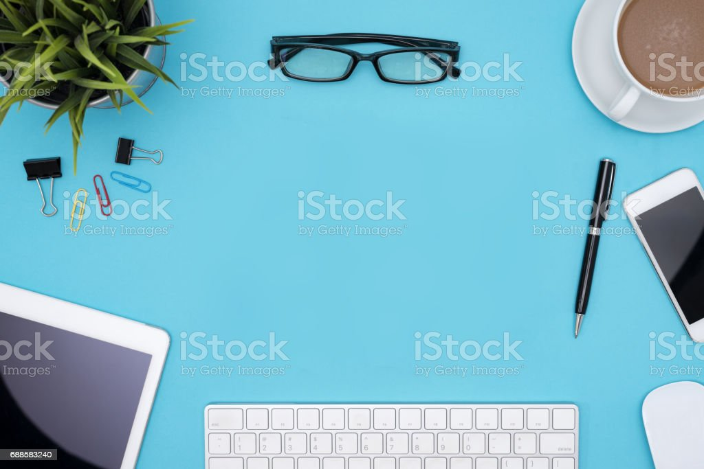 frame of office supplies with copy space stock photo