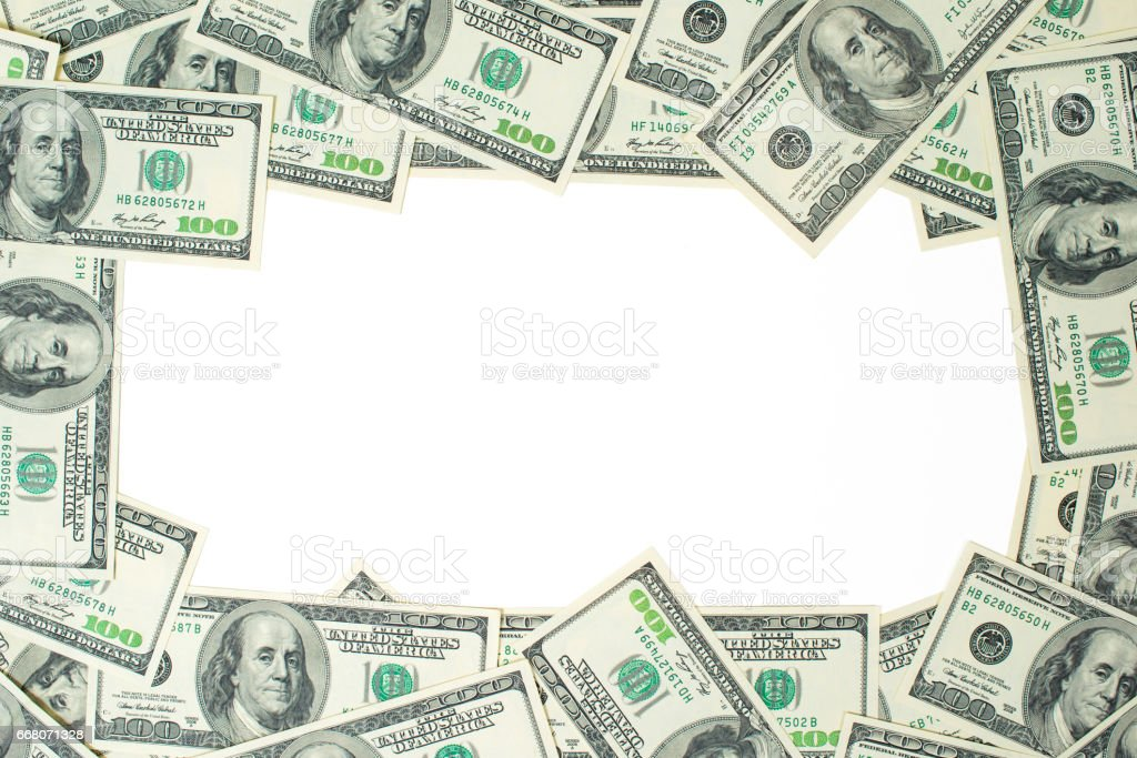 A frame of one hundred dollar bills. The skeleton of the dollar стоковое фото