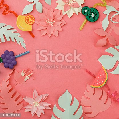 istock frame of origami flowers, leaves and straws for exotic cocktails, concept of vacation, summer, beach relaxation, banner for menu 1130830066