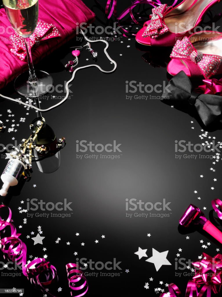 Frame of Pink Shoes and Party Streamers royalty-free stock photo