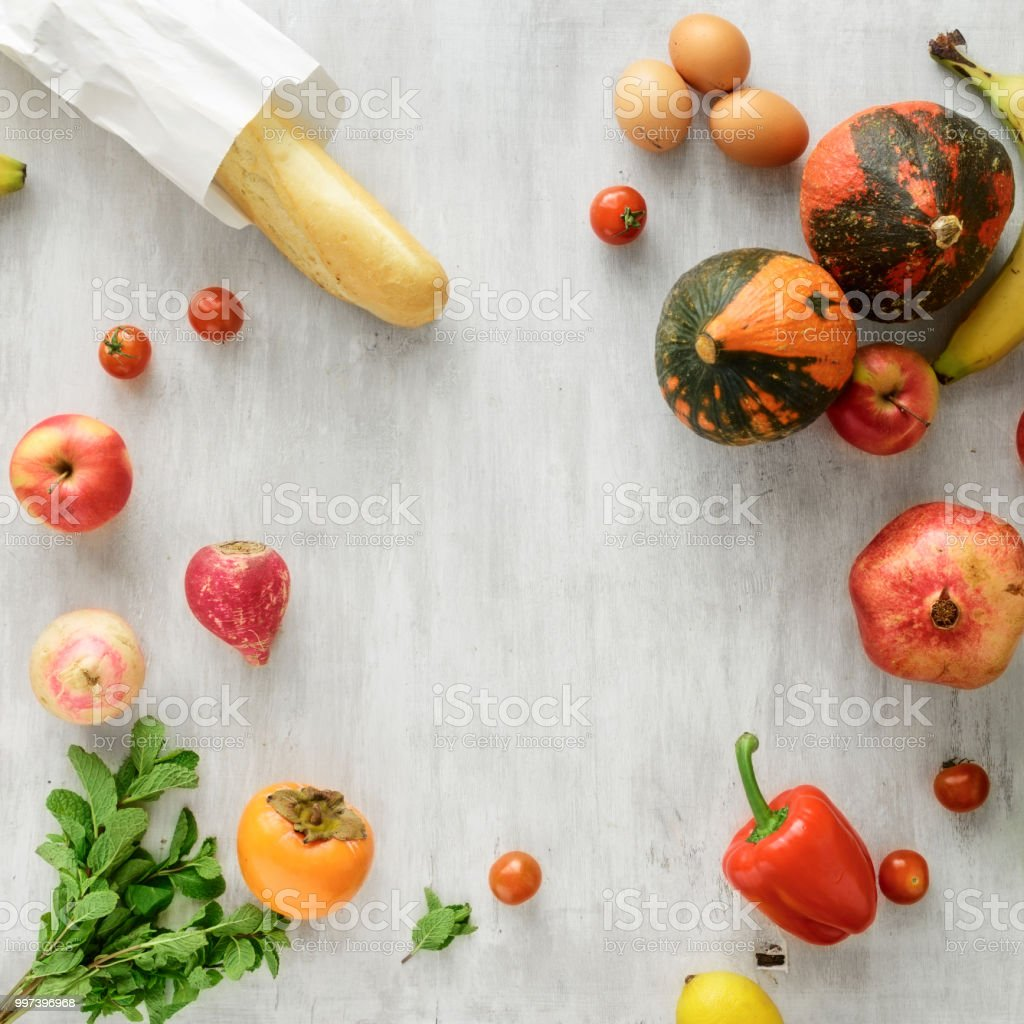 frame of set of raw food stock photo