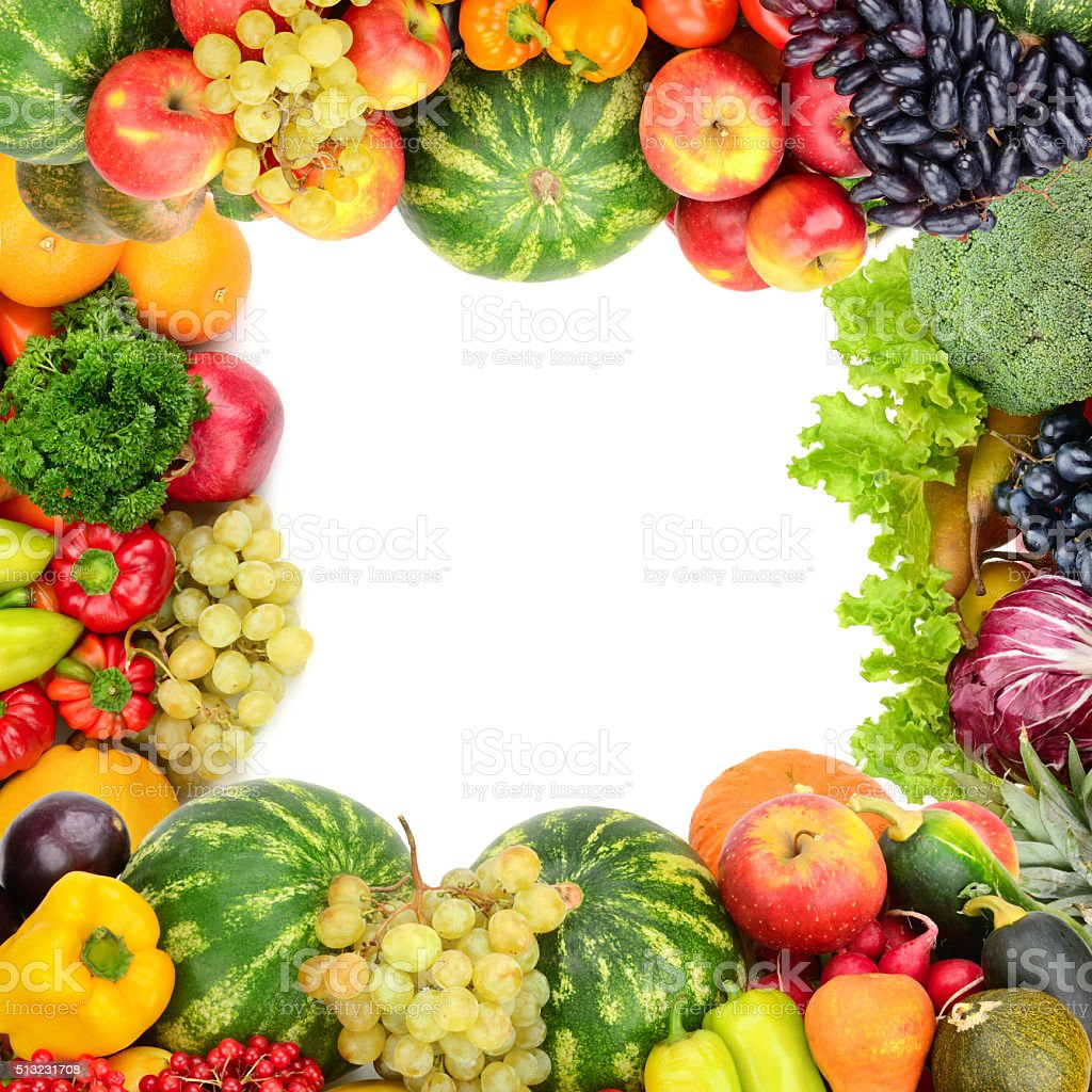 Frame of vegetables and fruits stock photo