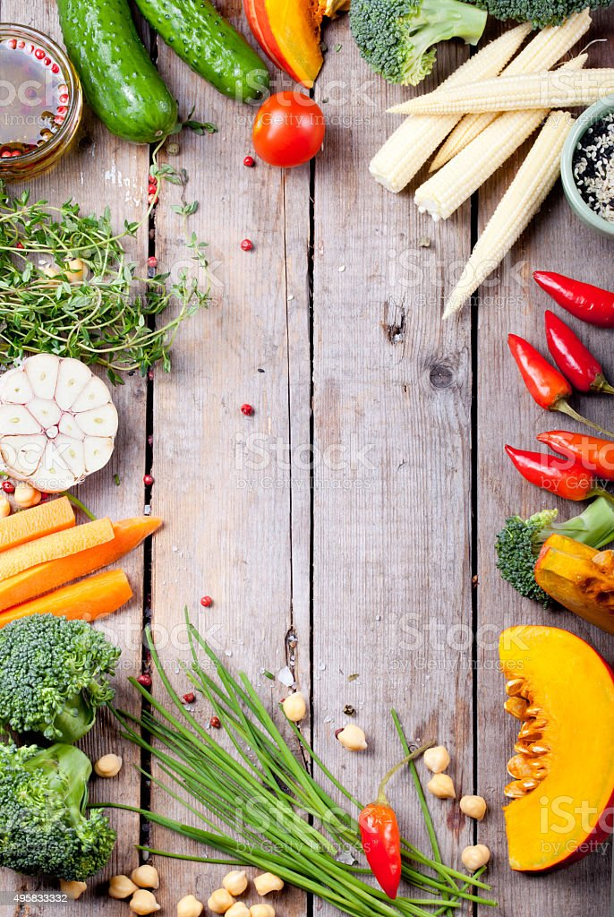 Frame of vegetables, herbs. Harvest, culinary, autumn background. stock photo