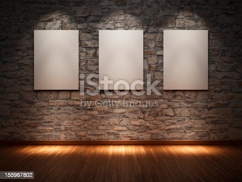 istock Frame  on stone wall 155967802