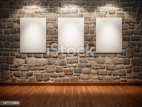 istock Frame  on stone wall 157712604