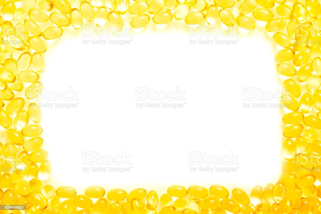 Frame Or Border Fish Oil Soft Capsule Omega On White Background ...