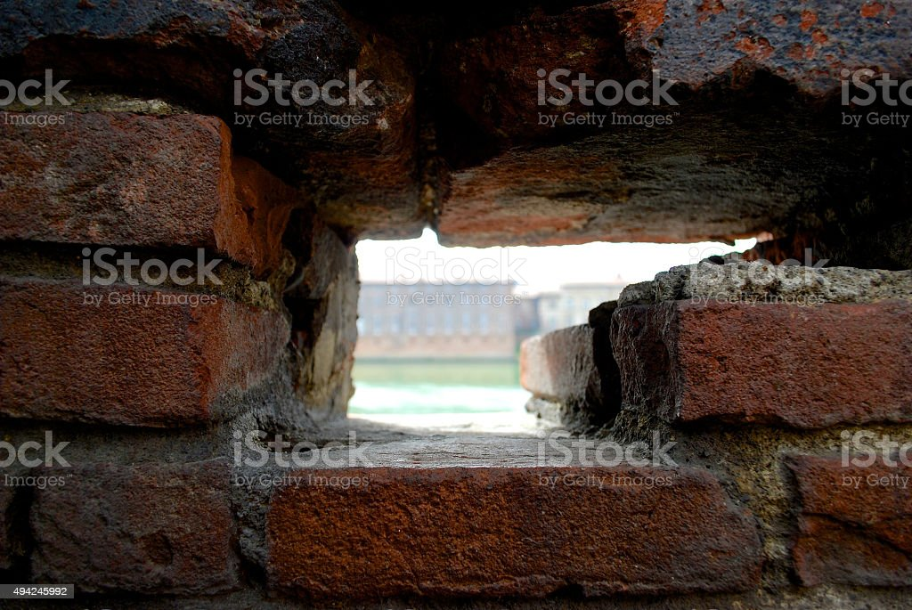 Frame out of bricks in Toulouse wall stock photo