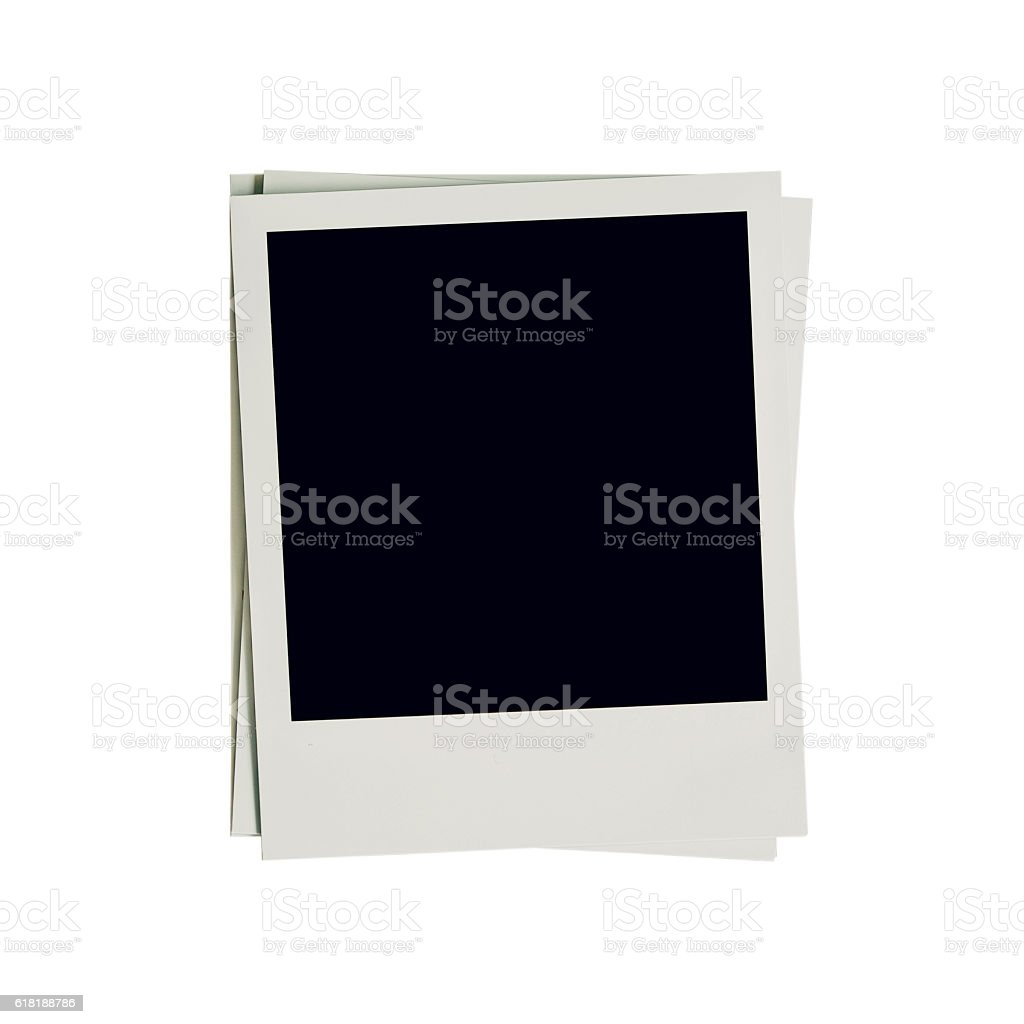 Frame photo blank on isolated white with clipping path. stock photo