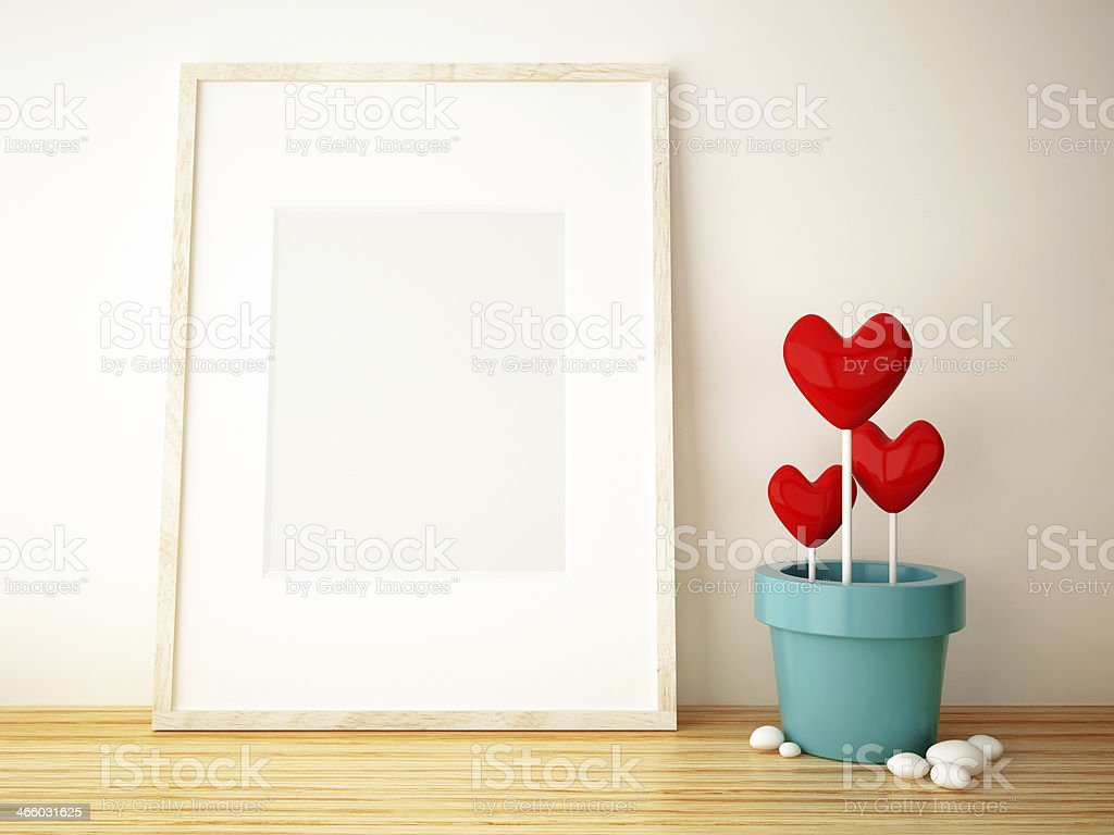 frame picture and flower pot stock photo