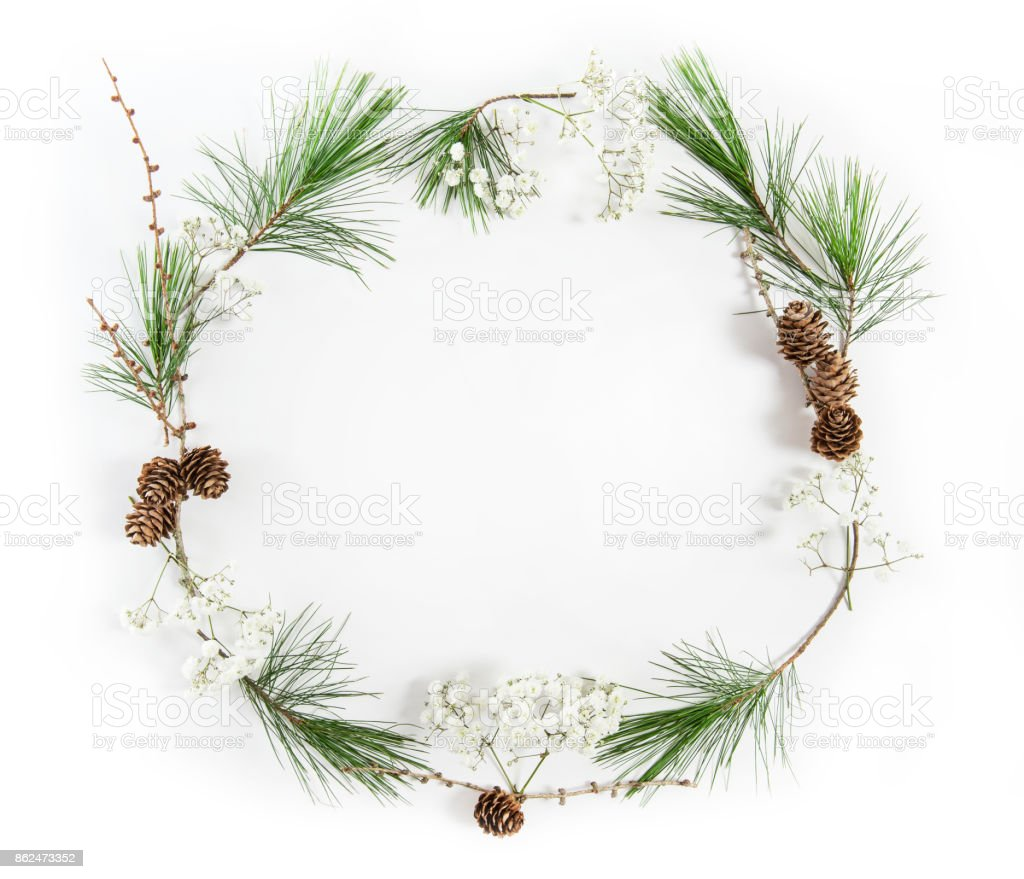 Frame pine tree branches Christmas holidays flat lay