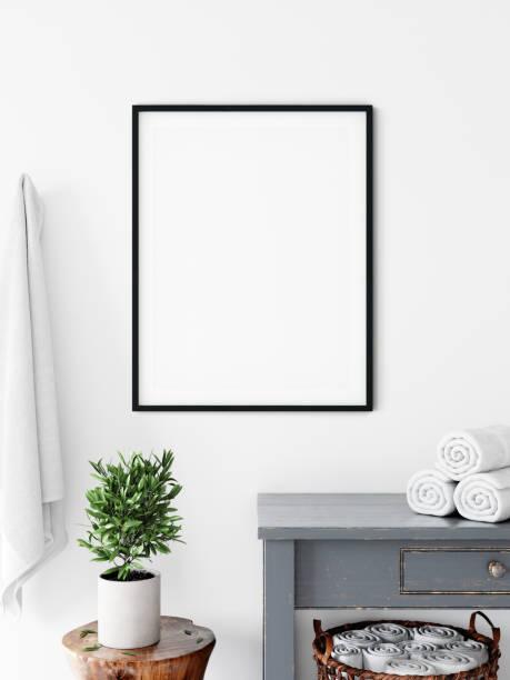 Frame & Poster mock up in bathroom. Skandinavisches Interieur. 3d Rendering, 3d Illustration – Foto