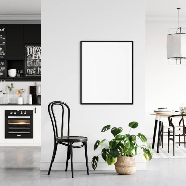 Frame & Poster mocken sich im Wohnzimmer hoch. Skandinavisches Interieur. 3d Rendering, 3d Illustration – Foto