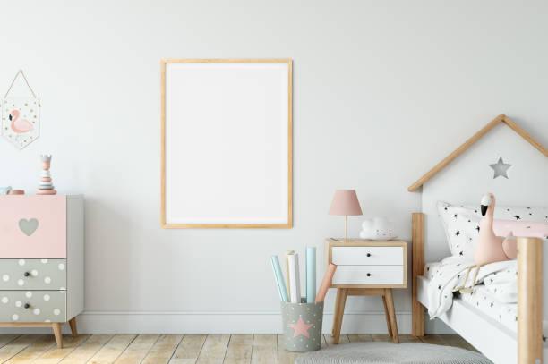 Rahmen & Poster Mock-up im Wohnzimmer. Skandinavisches Interieur. 3D-Rendering, 3D-Illustration – Foto