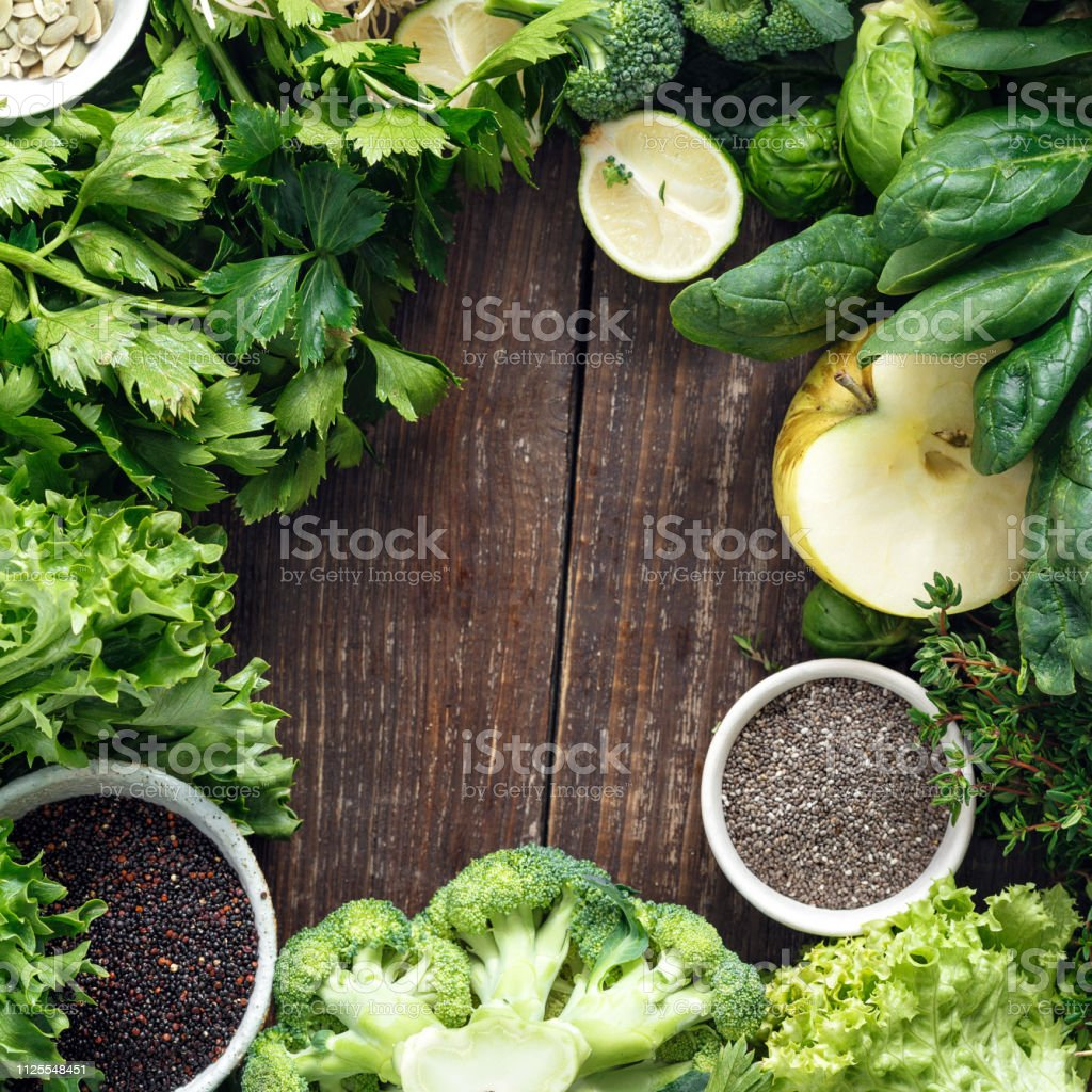 Frame Vegetables Fruit Superfood Herbs Top View Healthy Food Background stock photo