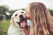 istock Frame with a beautiful girl with a beautiful dog in a park on green grass. 1127312658