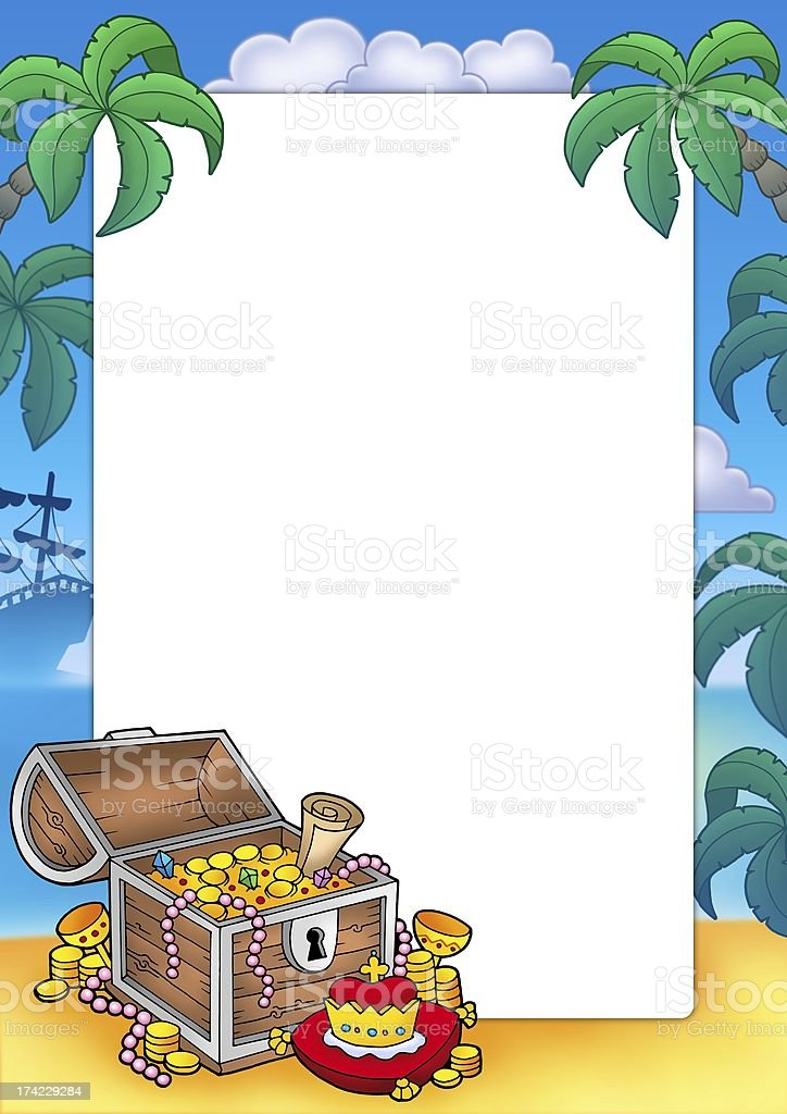 Frame with big treasure chest royalty-free stock photo