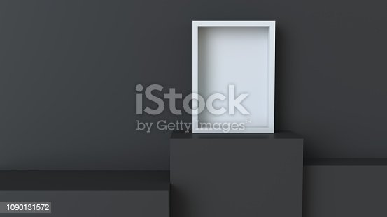 istock Frame with black cube podium on blank wall background. 3D rendering. 1090131572