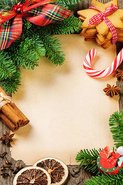 Frame with Christmas tree branches and vintage decorations stock photo