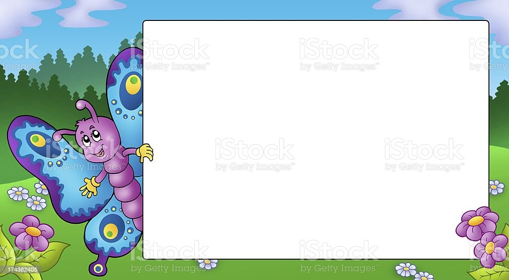Royalty Free Cartoon Of A Butterfly Border Frame Pictures