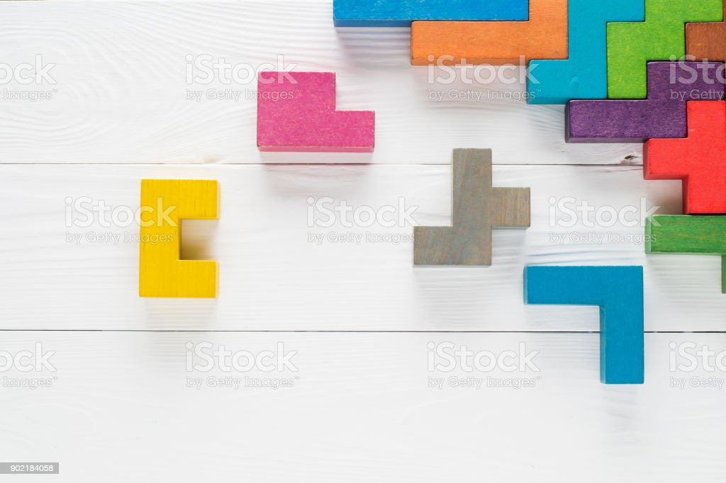 Frame With Different Colorful Shapes Wooden Blocks Stock Photo ...