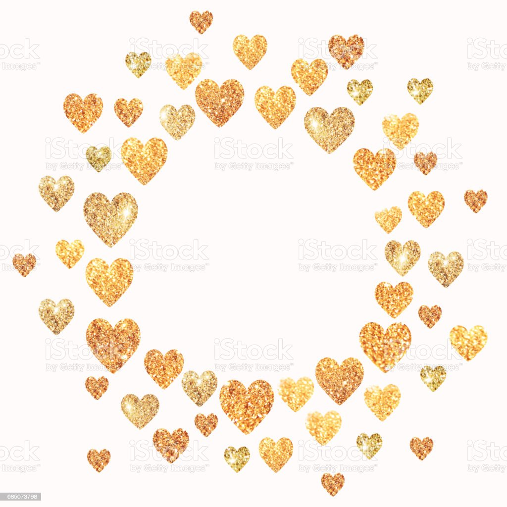 Frame with hearts of golden glitter in vintage colors stock photo
