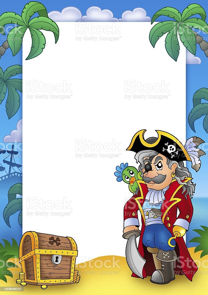 Frame with noble corsair and chest royalty-free stock photo