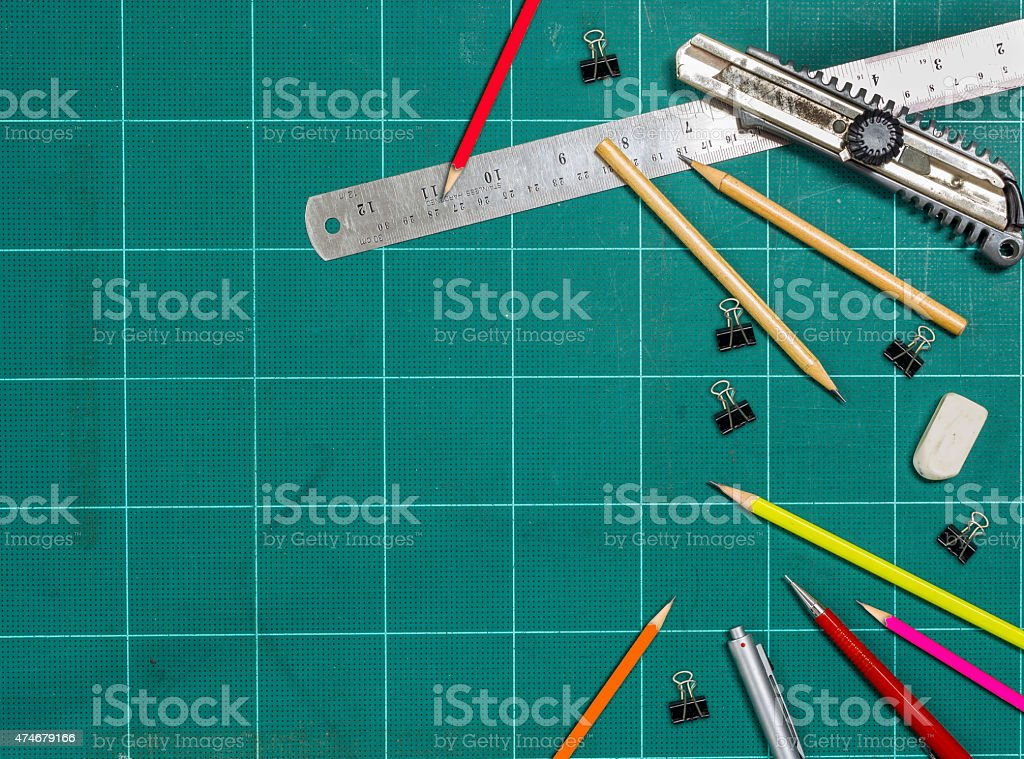 Frame with  office accessories on the cutting mat stock photo