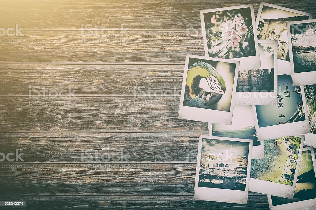Frame with old paper and photos. stock photo