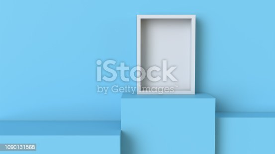 697820188 istock photo Frame with pastel blue cube podium on blank wall background. 3D rendering. 1090131568
