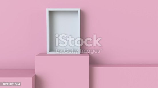 697820188 istock photo Frame with pastel pink cube podium on blank wall background. 3D rendering. 1090131564