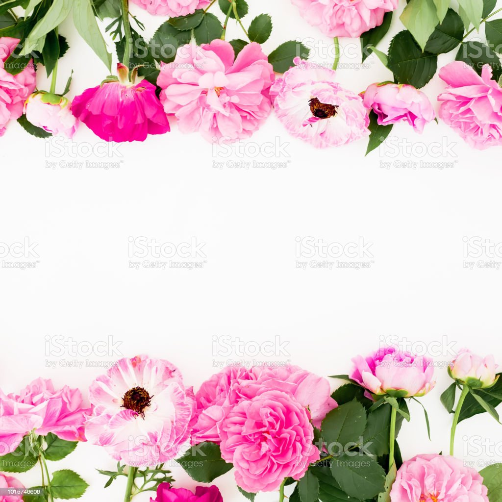 Frame With Pink Flowers On White Background Flat Lay Top View Pastel