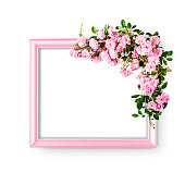 istock Frame with pink rose flowers 1208125514
