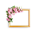 istock Frame with pink rose flowers 1273483657